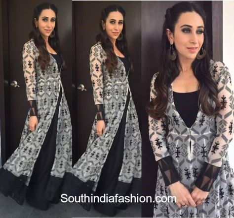 For her appearance at a recent do, Karisma Kapoor picked a long, layered, black & white gown by Anita Dongre. She looked charming as ever in a cute hair do