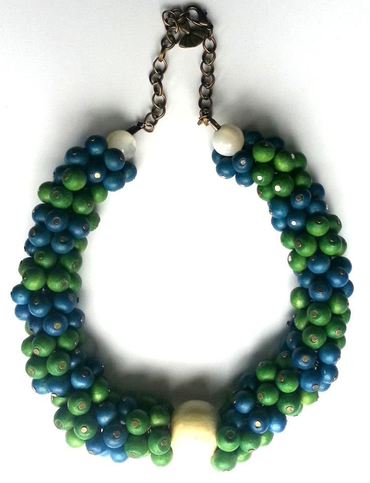 Statement necklace created ​​from blue, white and green wooden beads.    www.facebook.com/SimplicitybyMelanie