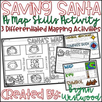 Saving Santa-A Map Skills Activity: Are your kiddos in need of extra map skills practice? Is it the time of year where you need a little something to liven up your map lesson? You have found exactly that! This activity will help your students practice cardinal directions, using a map key, and making a map with a Christmas theme.