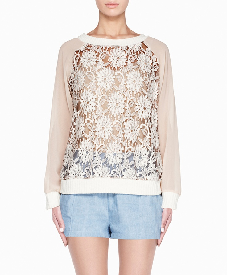lace sweater with sheer long sleeves