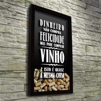 Quadro Porta Rolhas de Vinho - Felicidade