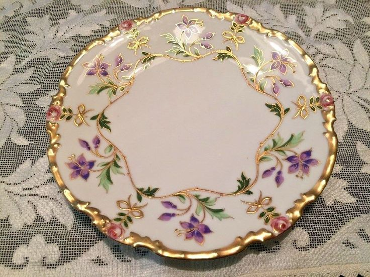 Limoges P And P France Cabinet Plate Purple Pink Flowers With Gold