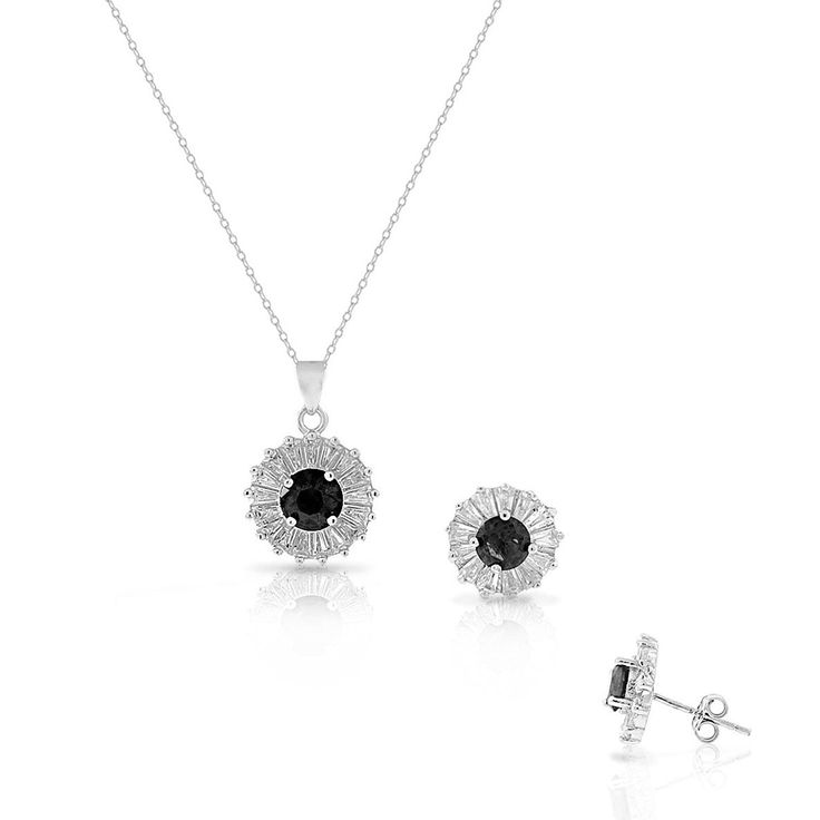 Signore-Signori Grey Black Pearl Swarovski Elements Crystal Pendant Necklace and Earrings Set, White Gold Plated Jewellery