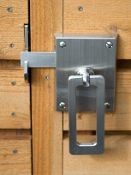 The Elise Contemporary Modern Gate Latch is a modern stainless steel gate latch with brushed stainless ring handle. Gate hardware made in the USA.