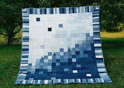 denim quilt   King-size denim comforter. I made this by recycling our old bluejeans ...
