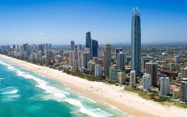 Herunterladen hintergrundbild strand, meer, queensland, australien, pazifischer ozean, wolkenkratzer