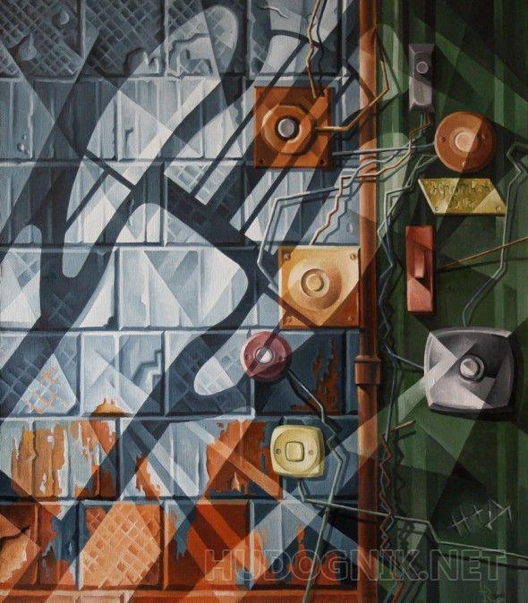 Дверные звонки. Кубофутуризм Стремление к возрождению русского кубофутуризма, почившего в бозе в 30-х годах прошлого столетия. В своих работах я стараюсь, сохранив традиции русского авангардизма начала 20 века, развивать этот стиль с добавлением собственного видения данного художественного направления