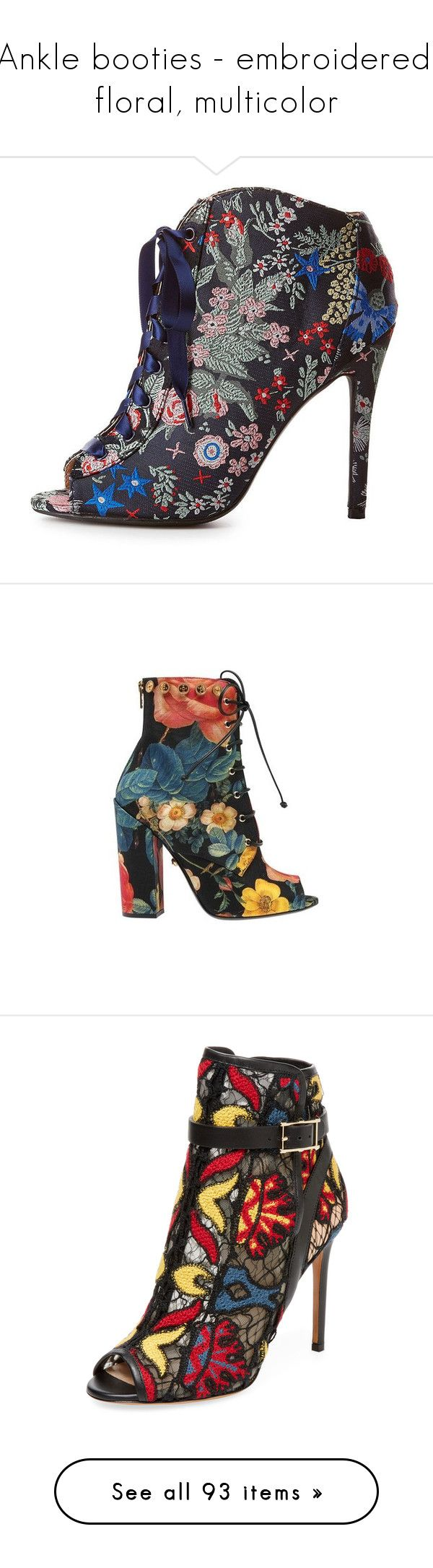 """Ankle booties - embroidered, floral, multicolor"" by leaff88 ❤ liked on Polyvore featuring shoes, boots, ankle booties, navy, sexy booties, qupid booties, navy booties, navy blue boots, navy blue booties and casual"