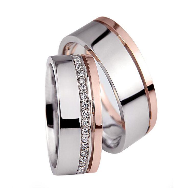 Royal fehér és rozé arany karikagyűrű R014