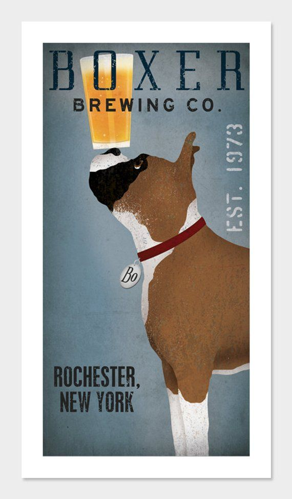 Personalized Boxer Dog Brewing Company Graphic Art Giclee Print Signed White Boxer Dogs Boxer Dogs Dog Art