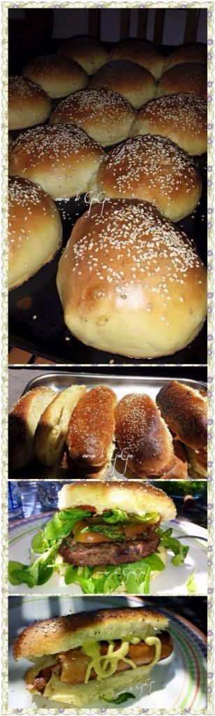 Panini brioche morbidi per hamburgers e hot dogs cotti nel forno al legna.     Home made hamburger buns and hot dog buns baked in wood fire oven.