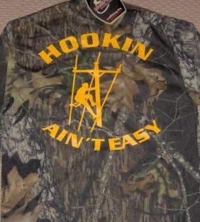 Mossy Oak Camo Hookin Aint Easy Lineman Shirt