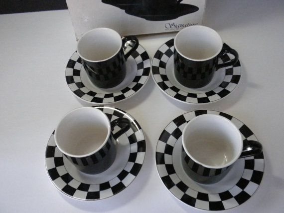 black and white checkered dinnerware | Demitasse Cups and Saucers Espresso Cups and Saucers by oldandnew8, $ ...