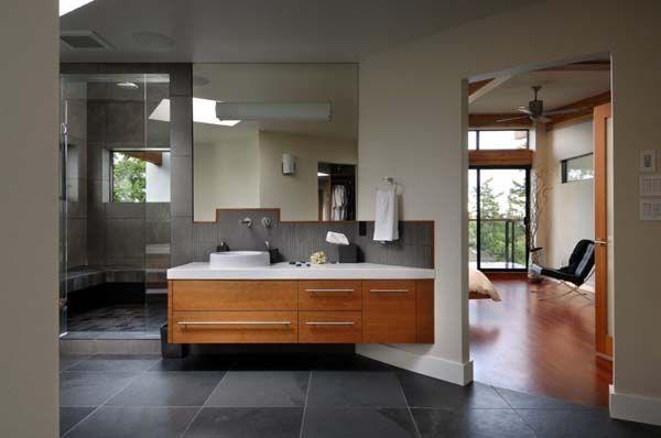 #bathroom #grey #timber