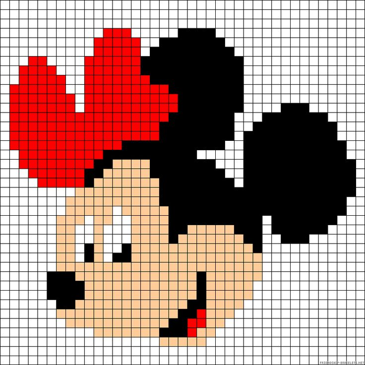 Minnie Mouse perler bead pattern - Crochet / knit / stitch charts and graphs