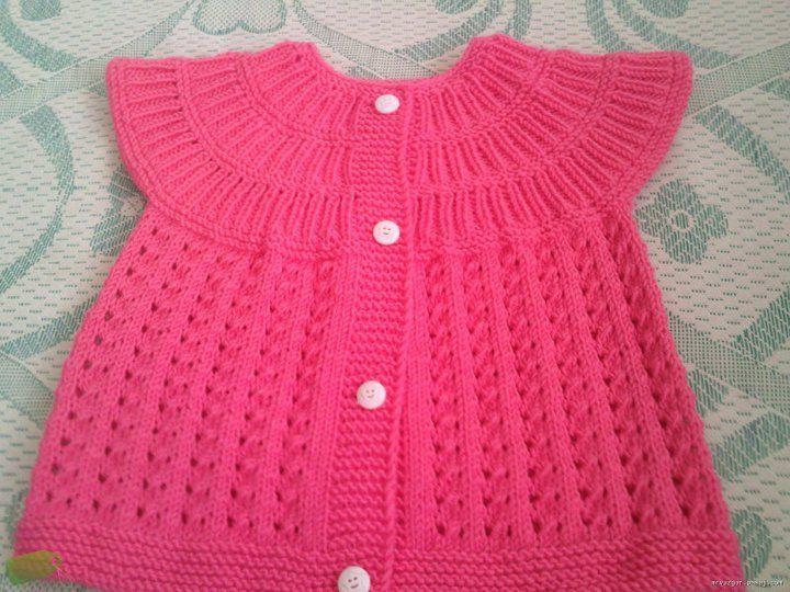 Google Knitting Patterns : yakadan baslama bebek yelegi - Googleda Ara Baby vest & bolero P...