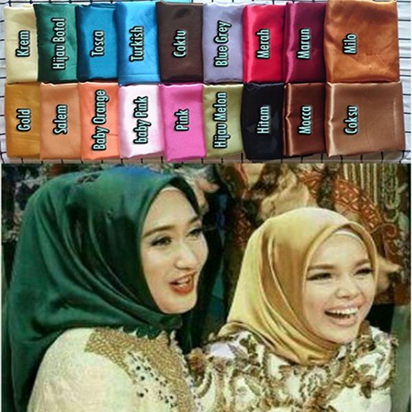 Hijab Pashmina Segiempat Satin Model 2017 Harga Murah Ukuran: 115×115 cm Bahan: satin charmeuse (satin ini mengkilap dan tidak mudah kusut) Keterangan warna