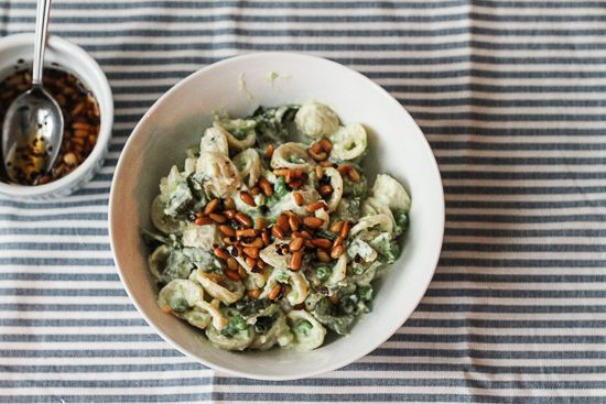 Ottolenghi's pasta with peas, yogurt and chili oil