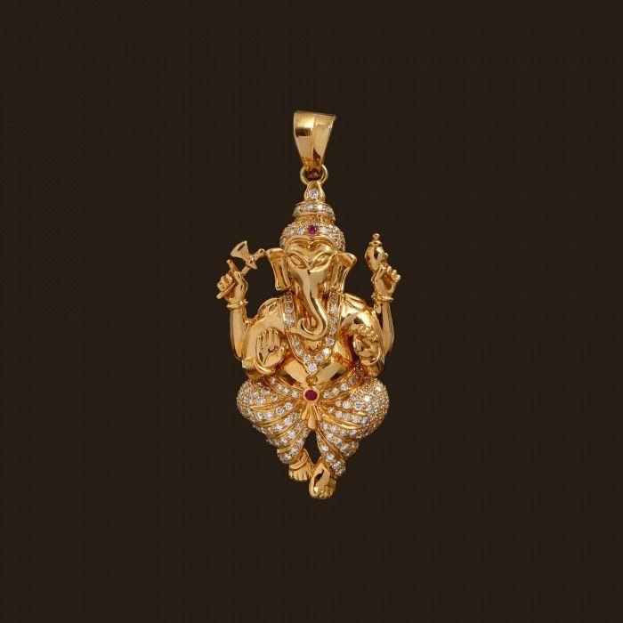 Diamond Ganesha Pendant (137A8241)   Vummidi Bangaru Jewellers