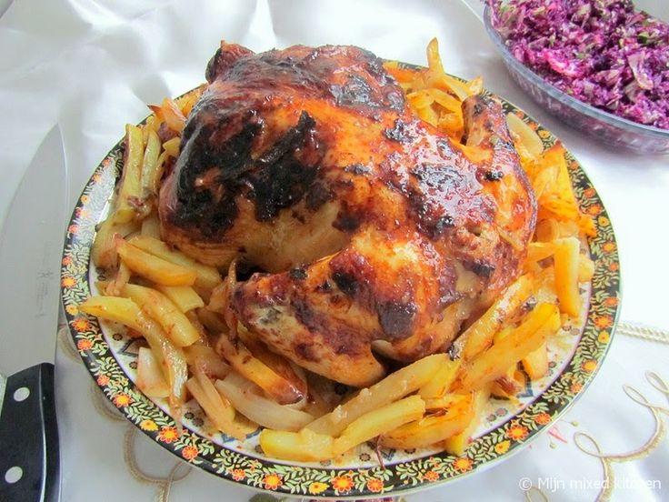 Fırında bütün tavuk (Turkse hele gegrilde kip uit de oven)