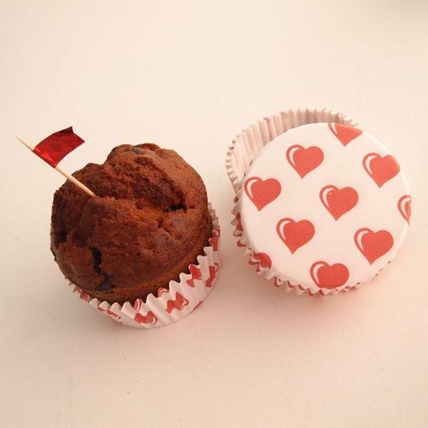 Kırmızı Kalpli 20'li Cupcake Kağıdı