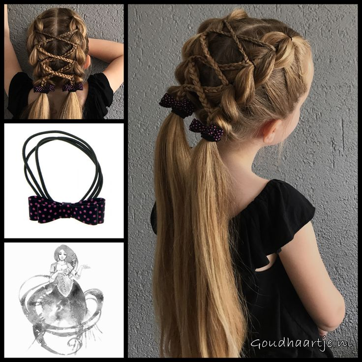 Pull through braids with micro braids into pigtails with lovely bows from the webshop www.goudhaartje.nl (worldwide shipping).   #pigtails #pullthroughbraid #hair #haar #vlecht #vlechten #strik #bow #hairstyle #braid #braids #hairstylesforgirls #plait #trenza #peinando #прическа #beautifulhair #gorgeoushair #stunninghair #hairaccessories #hairinspo #braidideas #amazinghair  #goudhaartje
