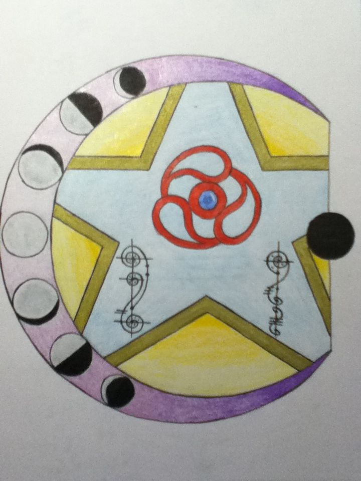 """By Anita. """"I put in all the phases of the moon into the crescent, and those two funny swirls on either side of the star is what I think the Lunar language in calligraphy would look like. It says Lunar Republic, or whatever you want it to mean."""""""