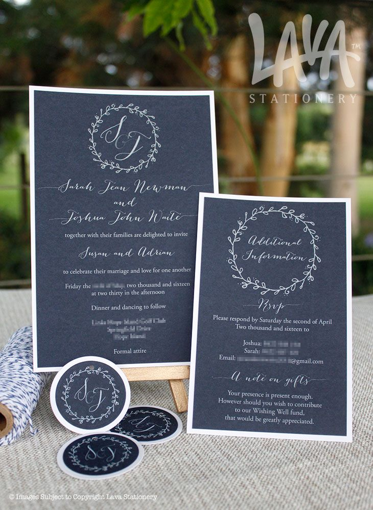 Adelaide invitation with #navy #bakerstwine & #floralwreath by www.lavastationery.com.au