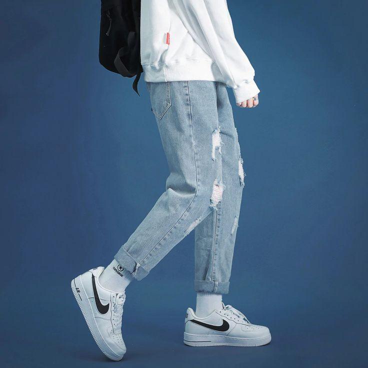 Fashion mens jeans brand broken hole pants thin torn men