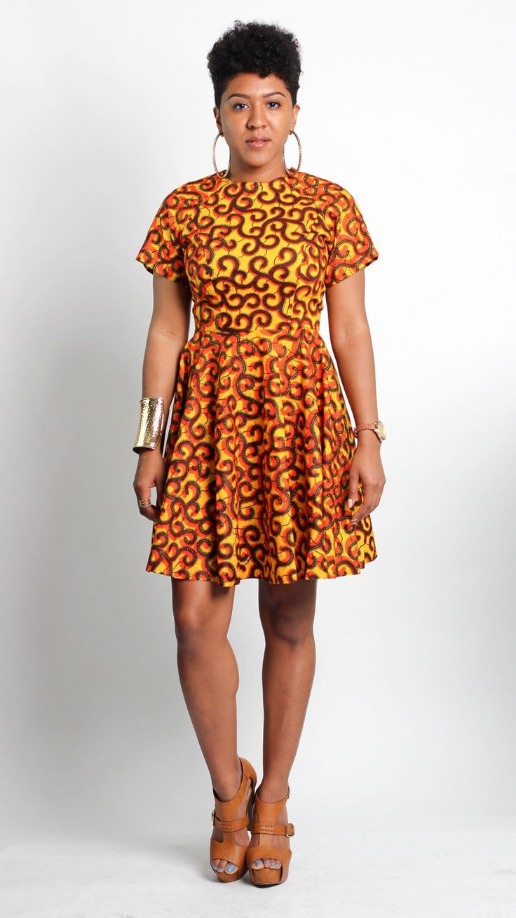 An a leap of style bestseller the von me dress is an african print fit and flare dress that is flattering on a variety of figures try this short sleeve