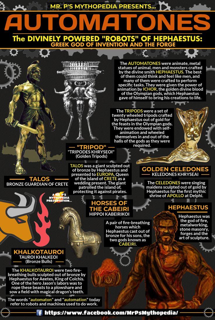 """The AUTOMATONES of Greek Mythology! """"Robots"""" of the god of the forge, Hephaestus! #Automatones #Automatons #Hephaestus #GreekMythology #Infographic #AncientGreeks #Mythology #MrPsMythopedia"""