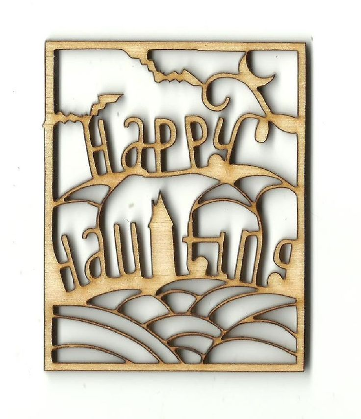 Happy Haunting Halloween Sign Unfinished Laser Cut Wood Shape FAL293