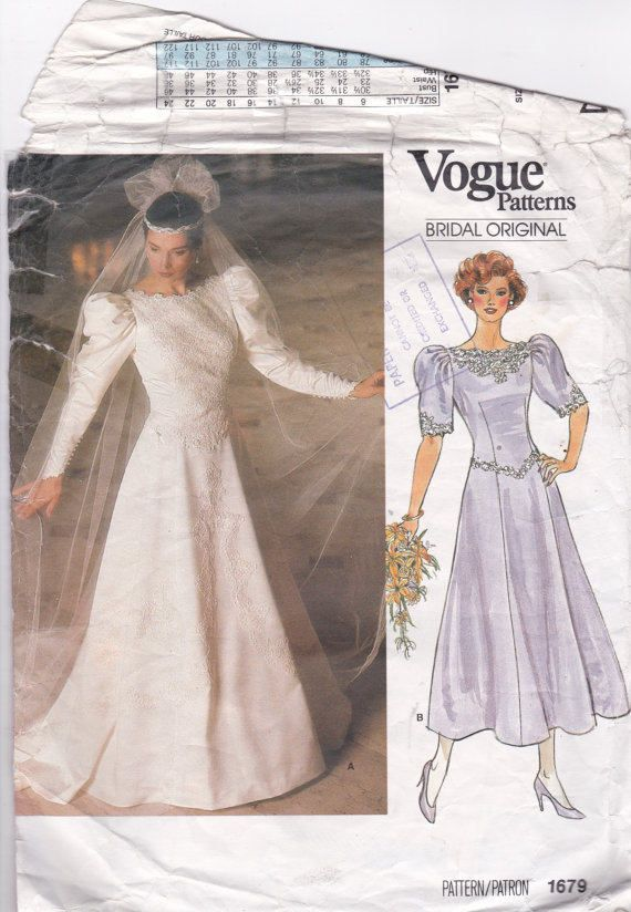 Wedding Dress Sewing Pattern Bridesmaid Dress Sewing Patterns Wedding Gown Retro Wedding Dress Pattern 1980s Wedding Size 12 Vogue 1679 by PatternsFromOz on Etsy