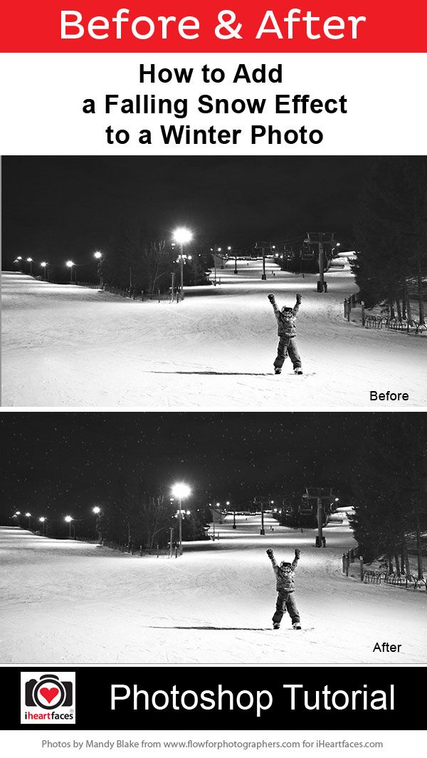 How to Add Falling Snow to a Photo in 6 Easy Steps. #Photoshop Tutorial. #photography