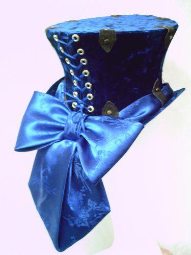 Steampunk Top Hat in Blue Crushed Velvet