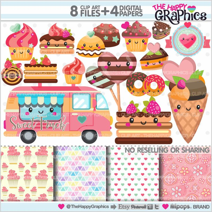 Sweets Clipart, Sweets Graphics, COMMERCIAL USE, Kawaii Clipart, Planner Accessories, Sweets Party, Bakery, Food, Cake, Dessert, Cupcake