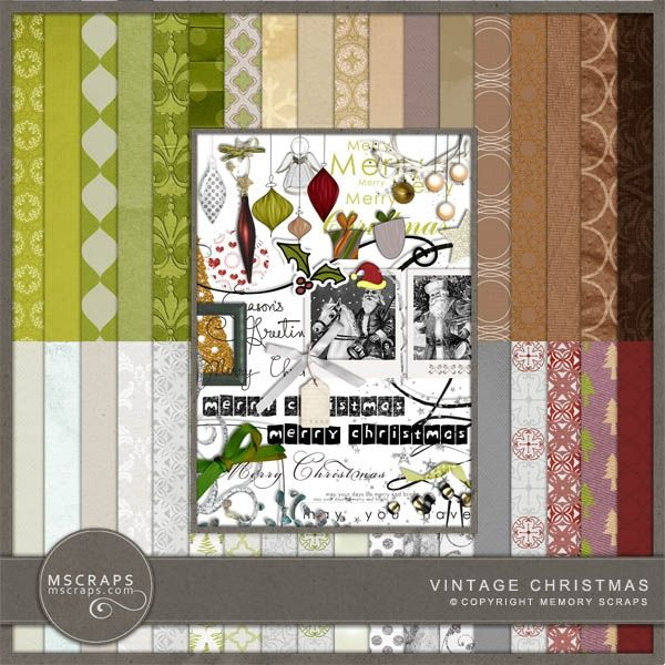 Vintage Christmas   free kit by the MScraps designers