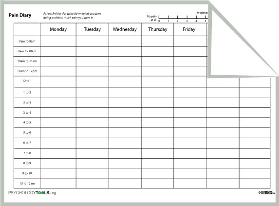 Pain Diary Worksheet - Bloggakuten