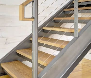 Best Steel Channel Stringers Stair With Cable Railing Steel 400 x 300