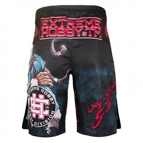Grappling shorts MONKEY. Color: black. Extreme Hobby shorts is a new design of MMA oriented fightwear. Innovative lacing system provide a perfect and firm fit while sewn in the crotch strech panel and leg cuts ensure unlimited range of motion and unmatched comfort. Special Waistband prevents shorts from slipping during fight.  Reinforced seams for greater durability.