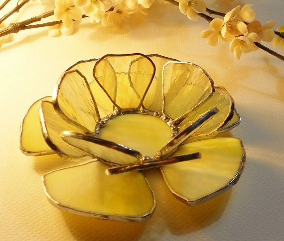 Waterlily. Pale Yellow Candle Holder. Handmade Stained Glass Votive.