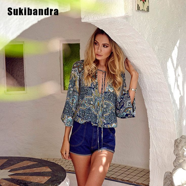 >> Click to Buy << Sukibandra Summer Casual Women Long Lantern Sleeve V Neck Tops Floral Paisley Print Ladies Boho Chic Bohemian Vintage Blouse Top #Affiliate