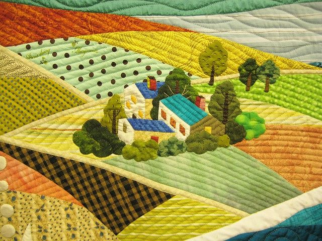 Landscape Quilters   Detail by Be*mused, via Flickr Art quilt