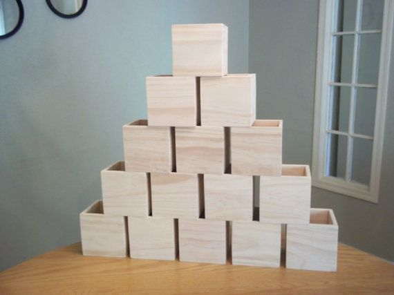 """15 - 5""""x5"""" Wooden Boxes UNFINISHED Flower Boxes Organizer Storage Wedding Centerpieces Table Box Candle Box"""
