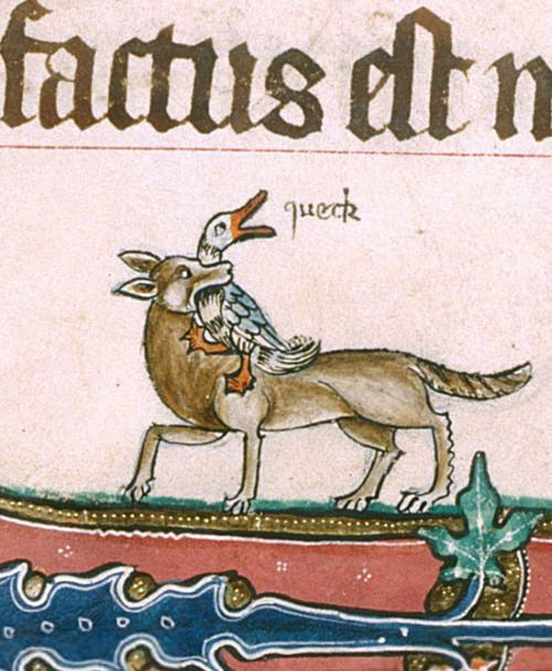 queck     British Library, Add 49622, f. 190v. The Gorleston Psalter. 1310-1324