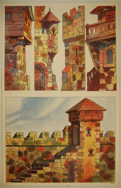 IX 27. [Burghof. Doppelbogen - Hintergrund und Kulissen.]