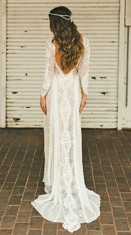 Boho backless wedding dress