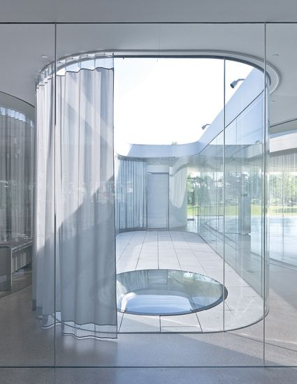 SANAA's most impressive creations   Architecture   Agenda   Phaidon :: Internal Courtyard With Curtain Kazuyo Sejima + Ryue Nishizawa: SANAA, Toledo Museum of Art Glass Pavilion (2006), Ohio, USA