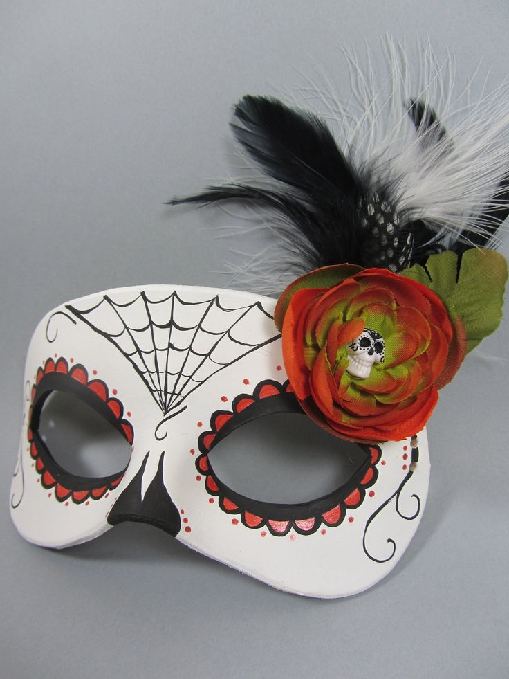 day+of+the+dead+crafts | Day of the Dead Orange Spiderweb Leather Mask by maskedzone on ...