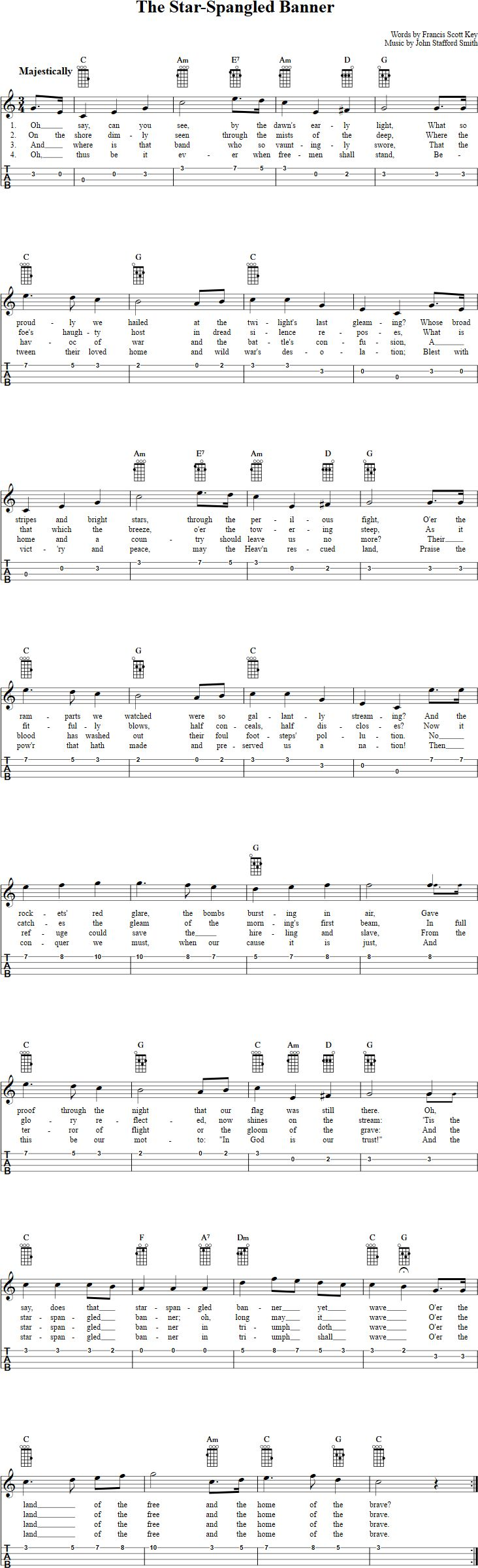 The Star-Spangled Banner Ukulele Tab